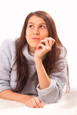 Beautiful and thoughtful brunette woman Stock Photo - 16495050