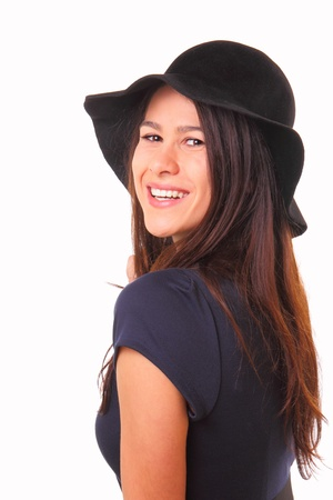 Beautiful and happy young woman in a black hat Banque d'images