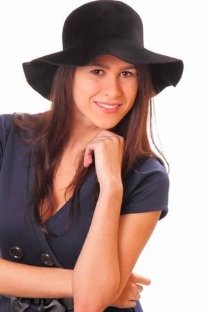 Beautiful young woman with a black hat Banque d'images