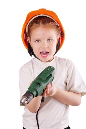 Pretty little builder girl Stock Photo