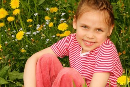 Little girl enjoying Spring day Stock Photo