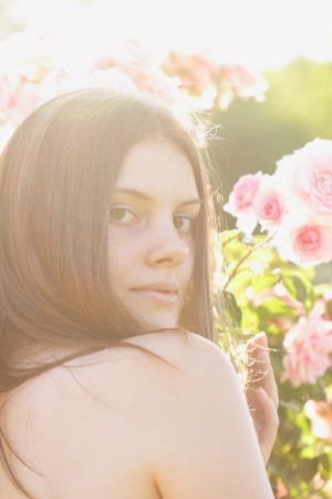 Pretty young woman in the open air Stock Photo