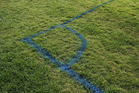 a corner of a soccer field. Stock Photo