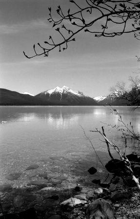 black and white photo of a pristine lake in montana. Stock fotó