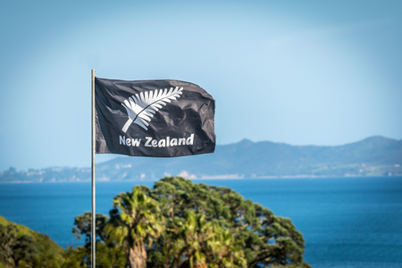 New Zealand unofficial  flag by the sea side