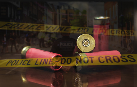 Police crime scene after a shooting