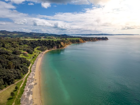 Drone arial view of a sandy beach on the Coromandel Peninsula Imagens