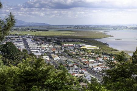 Drone view of Thames, Coromandel New Zealand Imagens