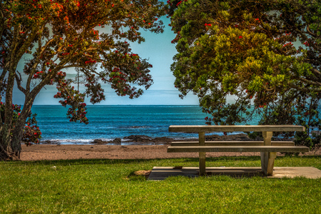 A photo of an empty bench by the sea side resort