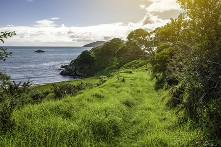 Hiking on the beautiful coast of Doubtless Bay in the Far North of New Zealand Imagens