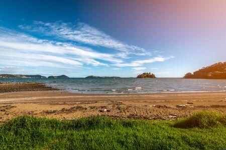 A beautiful panoramic view of a beach on the Coromandel Peninsula Imagens