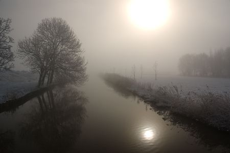polder: Winter landscape of a dutch polder. The Netherlands, 2008 Stock Photo
