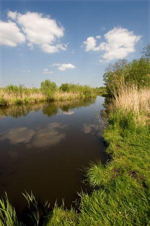 polder: Dutch polder landscape with river