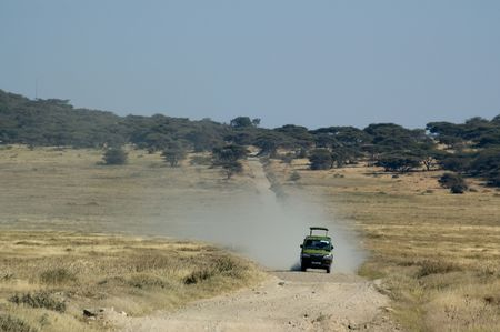 A fourwheel drive van on safari in Tanzania