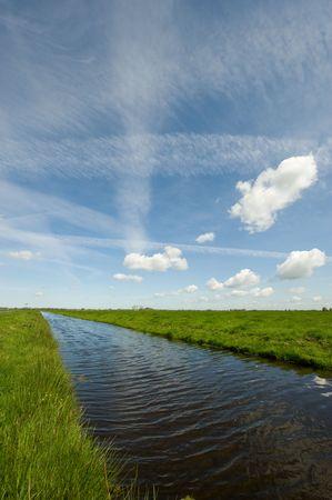polder: A beautiful dutch polder landscape in springtime
