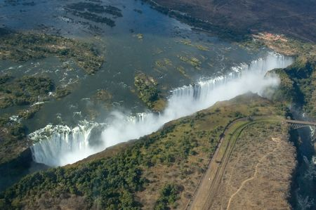zimbabwe: Aerial view of the Victoria Falls on the border of Zambia and Zimbabwe