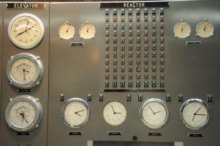 panel de control: Sala de control de una planta de energ�a nuclear  Foto de archivo