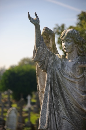 Gothic statue of an angel at a cemetery