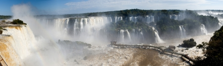 Panorama of Iguazu Falls on the border of Argentina and Brazil