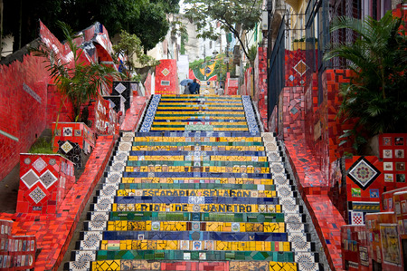 Rio de Janeiro, Brazil - July 2, 2013: Selarons Stairs (Escadaria Selarón) with colorful tiles lead up to one of the favelas. Rio de Janeiro is one of the host cities of the 2014 FIFA World Cup football. Editorial