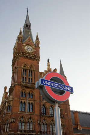 pancras: LONDON, UK - JULY 1 2014: St Pancras with Underground sign