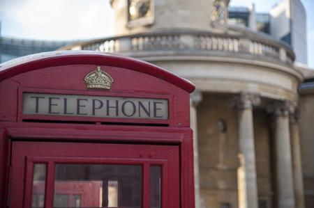 phone booth: Red phone booth in London, England