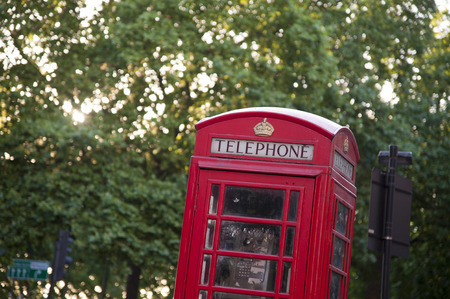 phonebooth: Red phone booth in London, England