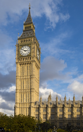 The Elizabeth Tower, otherwise known as the Big Ben clocktower, is part of the  Palace of Westminster. Stock Photo