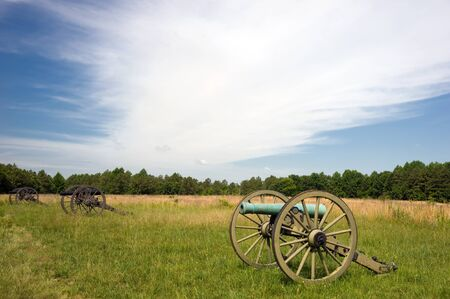 Row of civil war cannons on the battlefield Stock Photo