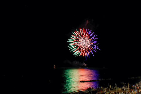 Fireworks fireworks on the sea Porto Recanati, italy