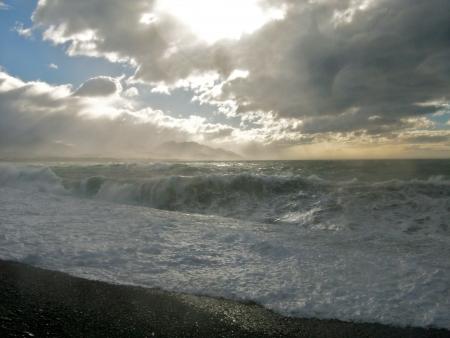kaikoura: Dramatic skies and stormy seas in Kaikoura, South Island, New Zealand Stock Photo