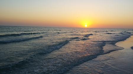 sunset on beach with waves, Sarasota Florida