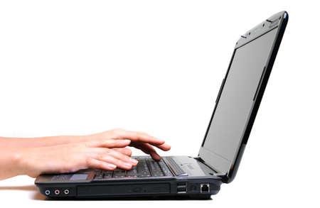 female hands using laptop on white background Stock Photo - 4081039