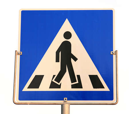 crossover: blue pedestrian crossing sign on white background