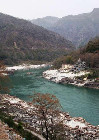 turquise: ganges river near rishikesh in india Stock Photo