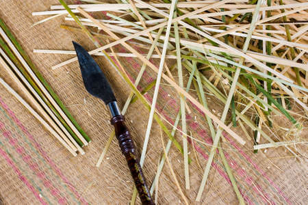 cutting tool: cutting tool with splitted bamboo Stock Photo