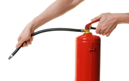 hands holding fire extinguisher over white background