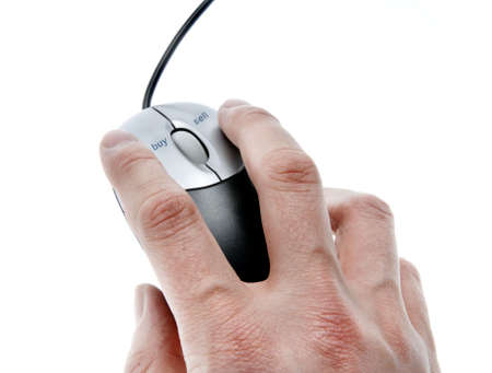 hand using mouse with dedicated buy and sell buttons over white background Stock Photo - 4261668