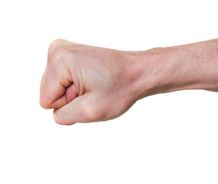 clenched human fist isolated over white background photo