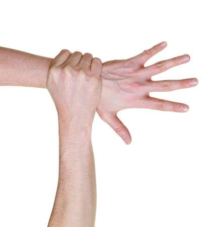 gevangen: hand gevangen en pakte meer dan pols geïsoleerd op witte achtergrond Stockfoto