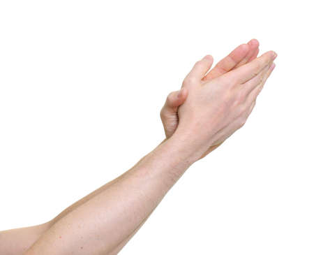 extol: clapping hands giving applause over a white background Stock Photo