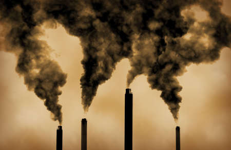 emissions: very dramatic image of global warming factory emissions Stock Photo