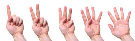 five counting hands isolated over white background photo