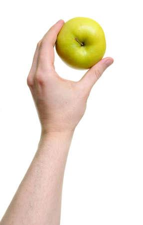 hand holding apple isolated on white background photo