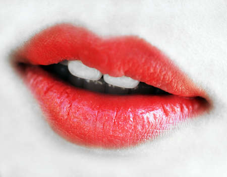 close up detail of red lips Stock Photo - 4708491