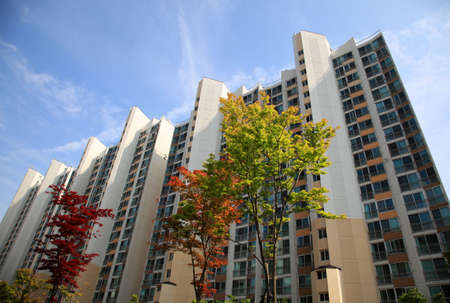 high rise apartment building with trees photo