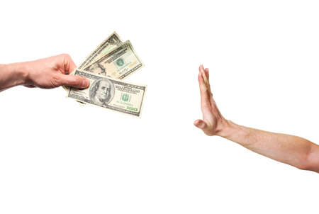 refusing: hand rejecting money isolated on white background