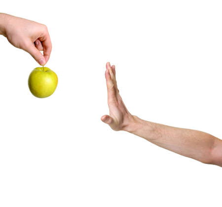 hand rejecting apple isolated on white background Stock Photo - 5116455