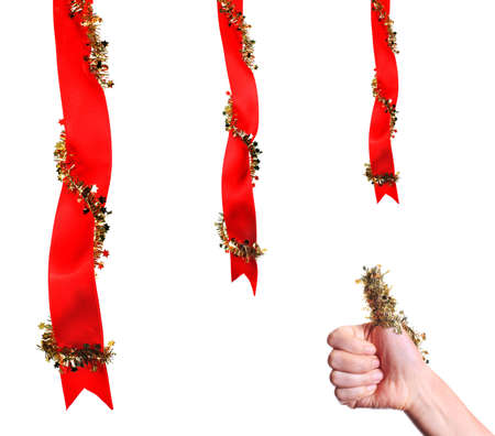 Christmas decoration with ribbons and thumb up Stock Photo - 5938508