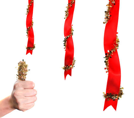 Christmas decoration with ribbons and thumb up photo